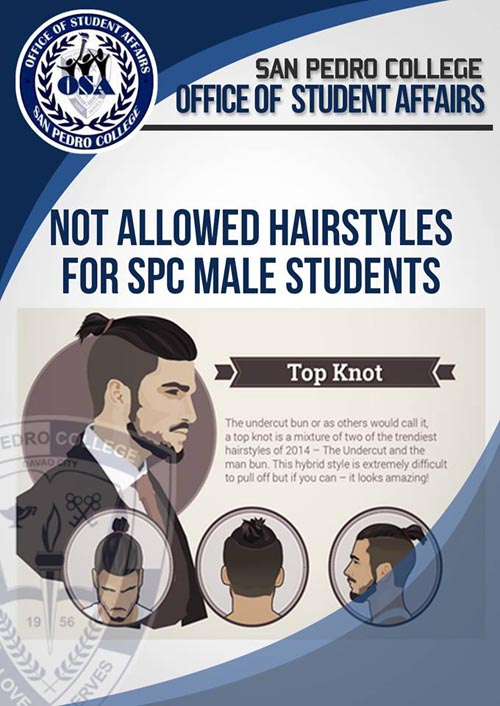 San Pedro College hairstyle for male students top knot