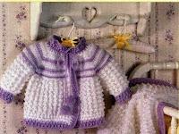 deryanın dünyası anlatımlı bebek örgüleri mor beyaz bebek takımı