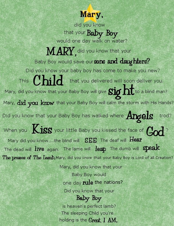 Breathtaking image throughout mary did you know lyrics printable