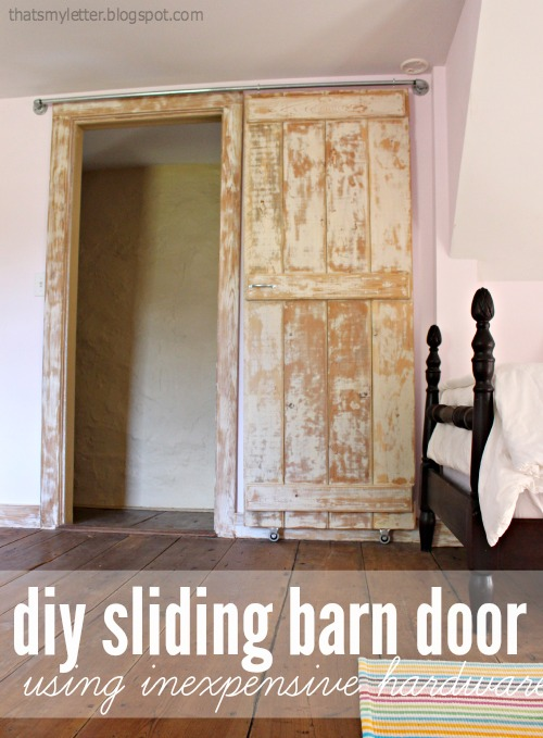 diy sliding barn door on pipe track