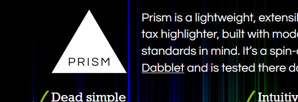 Prism JS library for code highlighting