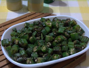 ghee fried peppery okra / bhindi