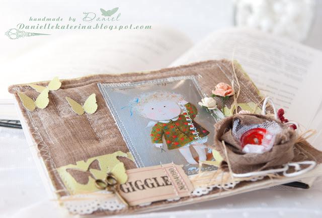 скрапбукинг+открытка ручной работы с тканью
