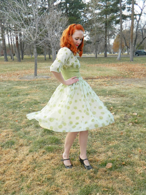 1950s green polka dot dress redhead Just Peachy, Darling