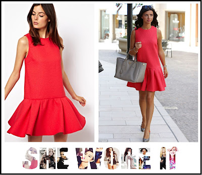 ASOS, Coral, Dress, Drop Waist, Lucy Mecklenburgh, Pink, Quilted, Red, Sleeveless, The Only Way Is Essex, TOWIE