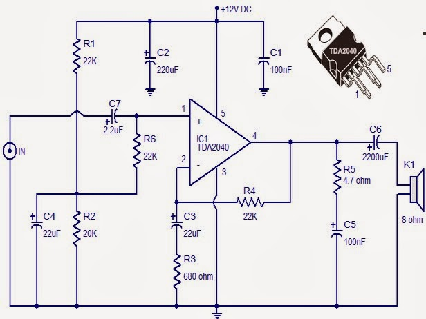 wiring diagram car mono amplifier using ic tda2040 real auto tips rh realautotips net
