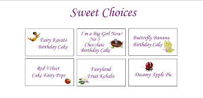 Fairy Party Sweets Menu