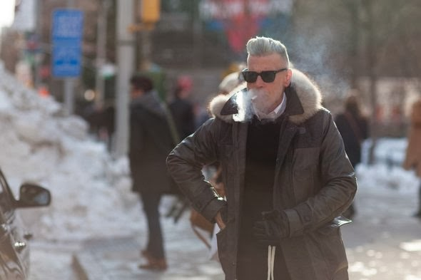 Nick Wooster street style mens fashion mens hair smoking new york street style Black Sea Nautica mens new york fashion week fall winter 2014 mbfw nyfw