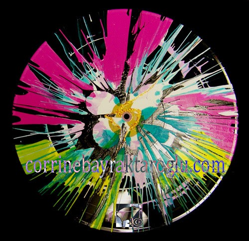 pink flower spin painting