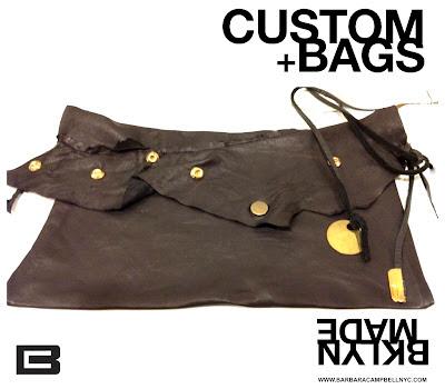 Handmade:Barbara Campbell Leather Black Stud Handbag