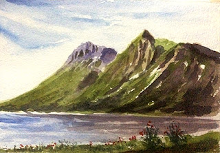 water colour painting of landscape on Arches paper by Manju Panchal