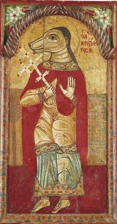 ícono de San Cristobal con cabeza de perro, representandolo como un Cincocéfalo