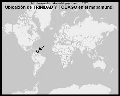 El Mundo. Ubicación de TRINIDAD Y TOBAGO en El Planisferio, blanco y negro BING