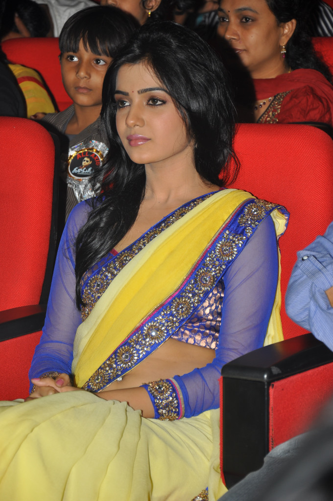samantha saree at dookudu audio launch, samantha spicy saree actress pics