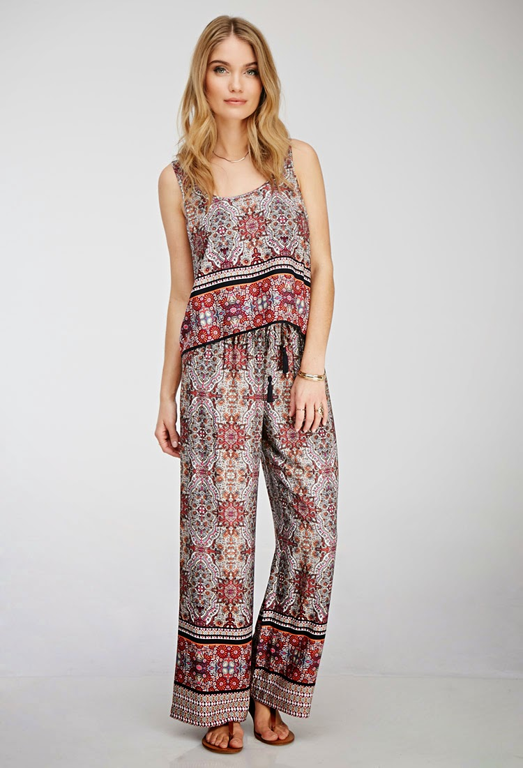 Matching Boho Beige and Wine Mandala Print Tank Top and Wide Leg Palazzo Pants Set