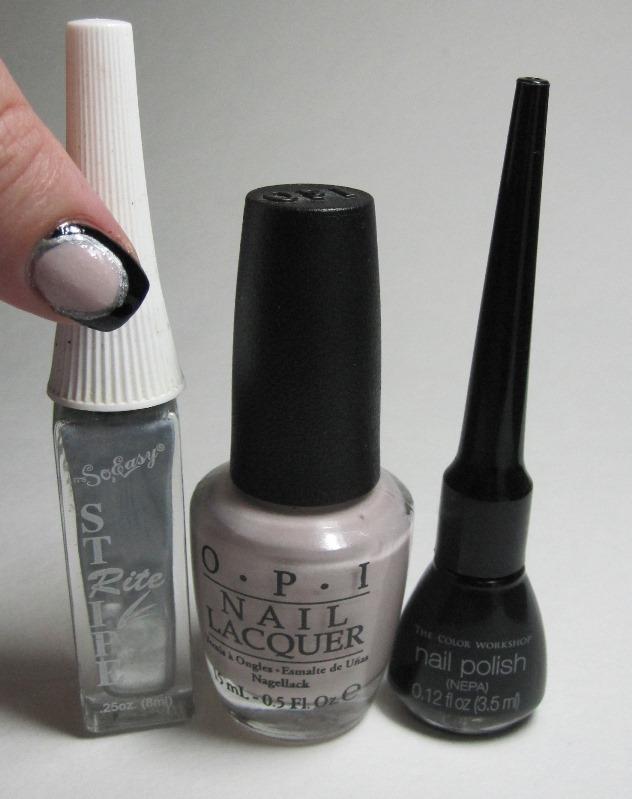 Bottle shot:  silver nail art striper, OPI Don't Bossa Nova Me Around, and a black nail art striper.