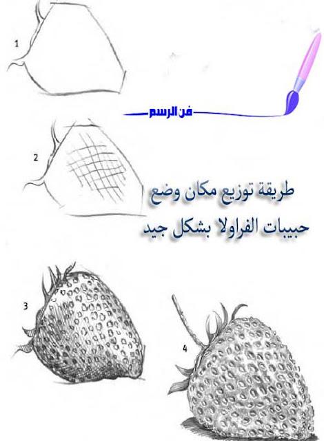 رسم القواكه ,رسم الفراولا بقلم الرصاص
