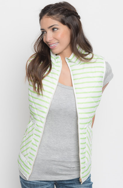 striped lightweight puffer vest