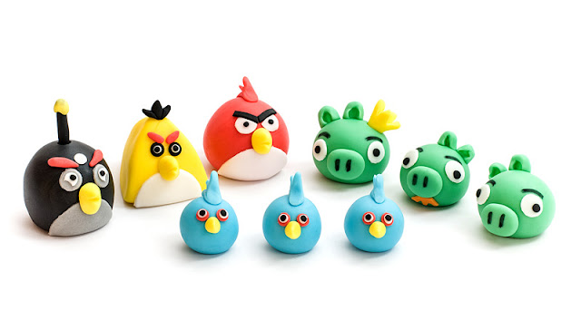 Angry birds fondant figurines 6 birds and 3 pigs