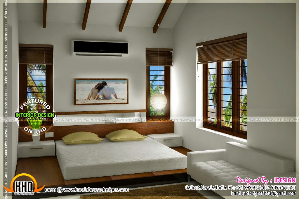 Kitchen master bedroom living interiors home kerala plans Master bedroom size in india