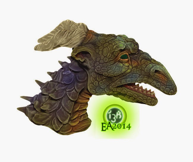 Horned Green Dragon Side View