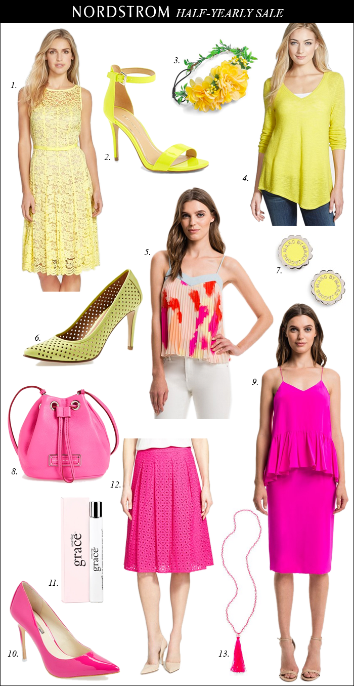 nordstrom sale, half-yearly sale, pink skirt, summer style, summer sales, yellow sandals, bucket bag, summer tanks