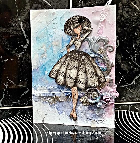 Paper Learning Curve - Grá O'Neill: Simon Says Stamp Birthday Farm Animals, Falling Snow stencil,  Prima Audrey Doll, Finnabair Harlequin stencil - Mixed Media