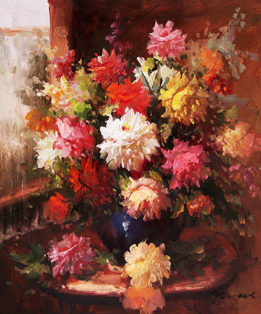 Gypsies kerosene flower oil paintings for Flower paintings on canvas