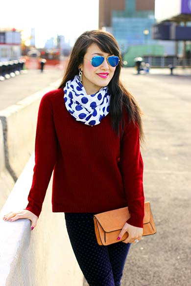 Burgundy J.Crew elbow-patch sweater