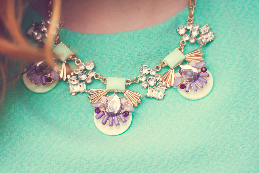 Dunnes Stores Mint Green and Purple Statement Necklace