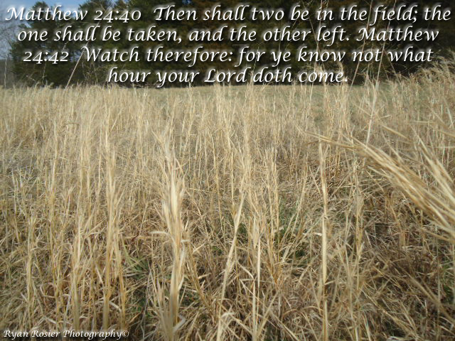Matthew 24 40 then shall two be in the field the one shall be taken