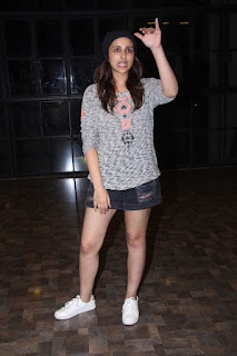 Parineeti Chopra Spotted at a Dance Acaademy in lovely Denim Shorts and Top