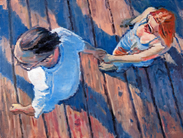 Aerial View of Couple Walking on the Santa Monica Pier figure oil painting