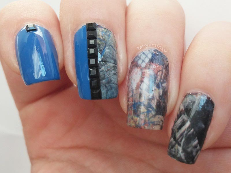 Blue Blacks Studs BPS Water Decals Nails Nail Art Design Manicure NOTD