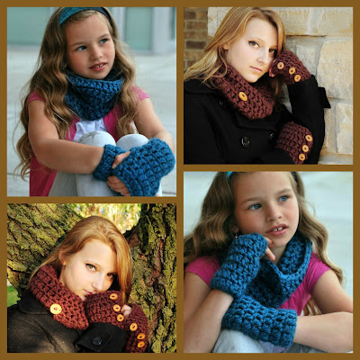crochet fingerless mittens and scarf pattern