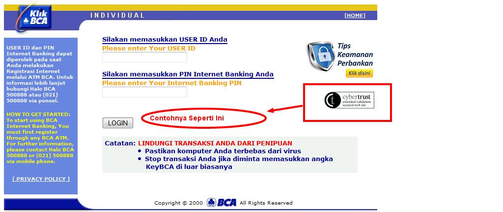 Halaman Login Nasabah Bank BCA