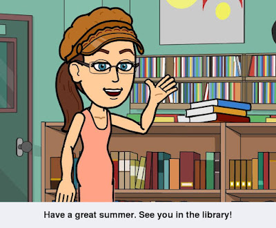 Cynthia M. Parkhill's comic Bitstrips avatar, standing and waving in front of library bookshelf. The caption reads, 'Have a great summer. See you in the library!'
