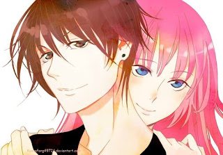 pink head girl with boy