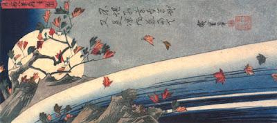 "Hiroshige Utagawa - ""La Luna vista attraverso le foglie d'acero"""