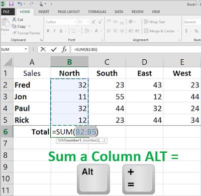 ALT = Excel Toal Column tip www.onncooltip.com