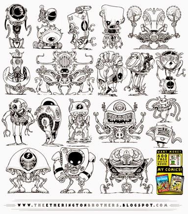http://studioblinktwice.deviantart.com/art/19-NEW-Robot-concepts-473063645