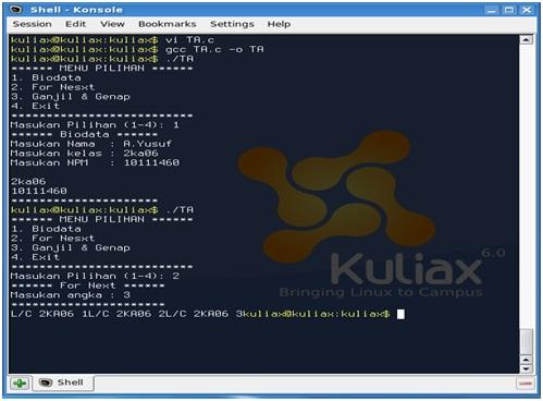 how to create menu in c program in linux