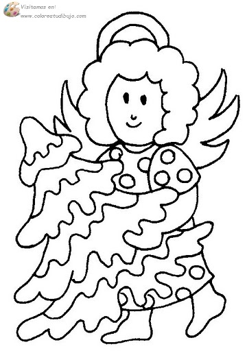 COLOREA TUS DIBUJOS: Ángel con árbol de Navidad para colorear ...