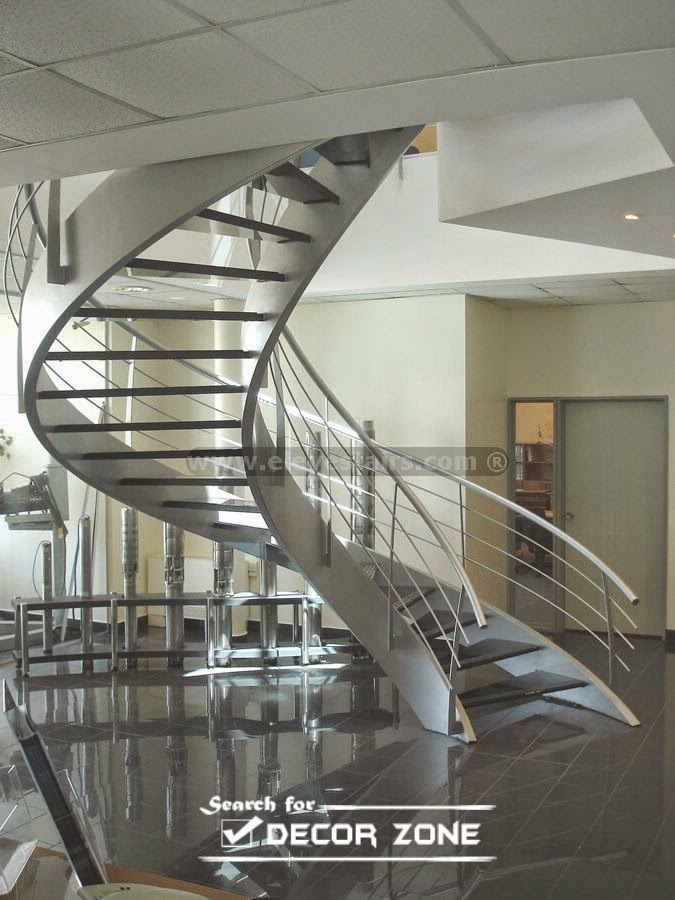 Metal spiral staircase designs and tips for installation for Curved staircase design plans