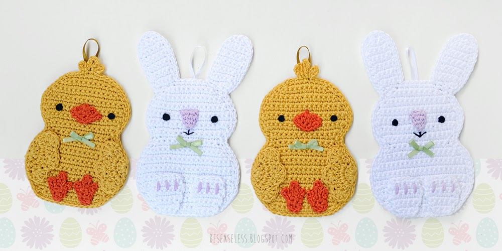 Crochet rabbit and chick applique in cotton yarn - Coniglio e pulcino a uncinetto in cotone - besenseless.blogspot.com