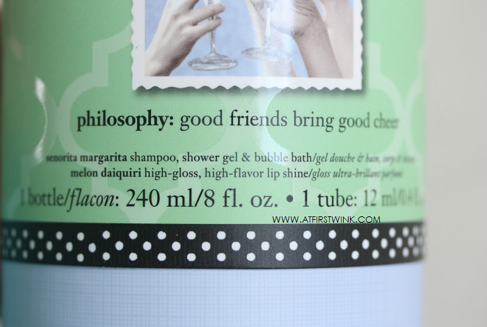 glossy picture and pattern on the philosophy gift set packaging