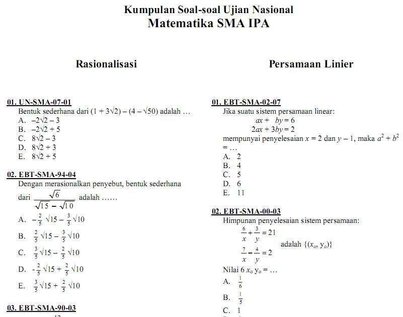 Matematika Di Sma Soal Ujian Nasional Matematika Ipa Sma Ma Kumpulan