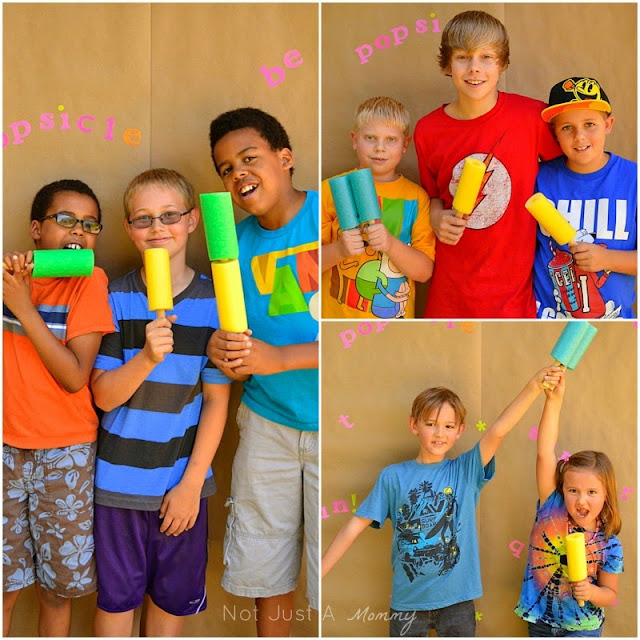 Pop Up Popsicle Party photo booth with pool noodle popsicles