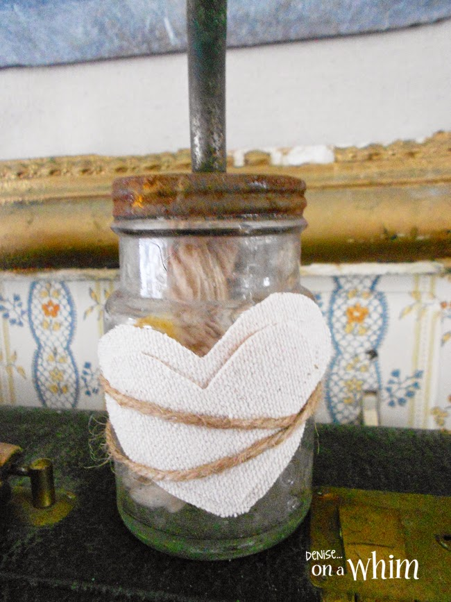 Drop Cloth Hearts and Twine on a Vintage Jar from Denise on a Whim