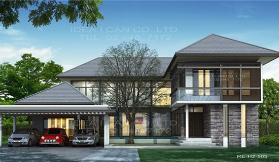 Modern style 2 story home plans for construction in thai for Modern two story house